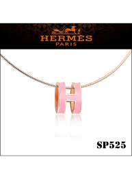 hermes pop h narrow pendant necklace in pink enamel with rose gold plating