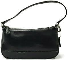 pair coach hampton black leather demi bag small purse baguette g1s 7785 vintage