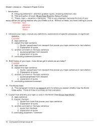 Example Research Paper Outline Mla Title Page Of Proposal In Nursing
