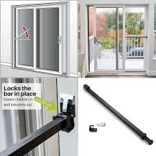 details about security bar sliding black lock glass door safety brace proof patio adjule