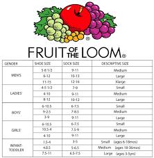 Fruit Of The Loom Sock Size Chart Lovely Fruit The Loom Sock