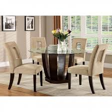 west palm i espresso 5pcs glass top round dining table set