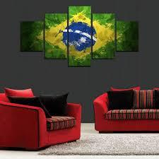 Painting In Living Room Aliexpresscom Buy 5 Panels Brazil Flag Painting For Living Room