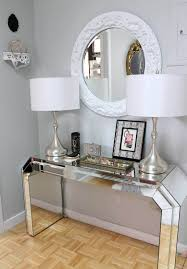 Furniture: Elegant Frame Wall Mirror Sophisticated Lamps Gray Interior  Baseboard Plus Parquet Round Foyer Table