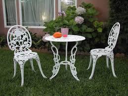 white metal patio furniture com outdoor patio furniture 3 piece cast aluminum bistro set