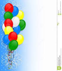 Party Borders For Invitations Birthday Invitation Balloons Border Stock Illustration