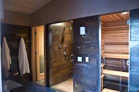 sauna shower combo with frameless shower doors bathroom rustic and sconce