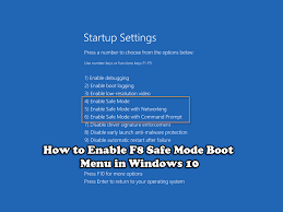 windows 10 safe mode how to enable f8 safe mode boot menu in windows 10