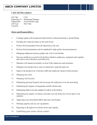 Sous Chef Job Description For Resume Samplebusinessresume Com