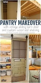 sliding barn door pantry makeover with wood slat shelves