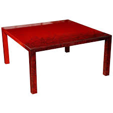 contemporary red laquered coffee table square leg
