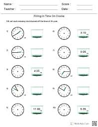 Kitty Clocks Telling Time Practice Sheets Den Math Clock Worksheets ...