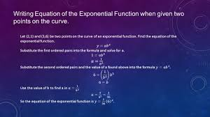 9 writing equation of the exponential function when given two points on the curve