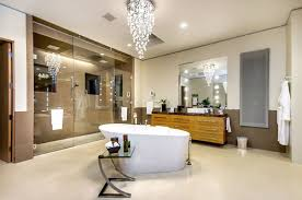 chandelier in bathroom