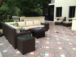 patio furniture set with gas fire pit table traditional