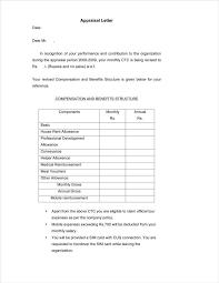 Appraisal Letter Sample Performance Appraisal Letter Format Doc