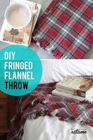 learn how easy it is to make this diy flannel throw blanket with cute fringed edge