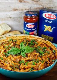 one pot sausage penne pasta with barilla pasta and tomato basil sauce recipe from missinthekitchen