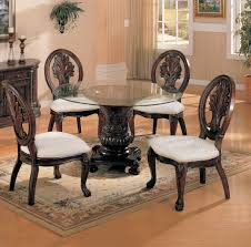 exclusive tabitha 5 piece round glass top cherry dining table chair set exclusive designs