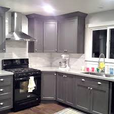 painted kitchen cabinets with black appliances. Grey Cabinets - Black Appliances Silver Hardware Full Tile Backsplash. Really Good Example Of Where I See Our Kitchen Going. Painted With H