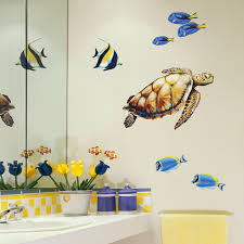 sea turtle and reef fish wall decal set on fish wall art for bathroom with sea turtle and reef fish wall decal set bold wall art