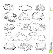 doodle collection of hand drawn vector clouds stock vector