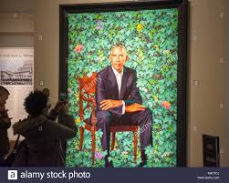 crowds flock to see the new offical presidential portrait of barack obama at the national portrait gallery smithsonian insution washington dc