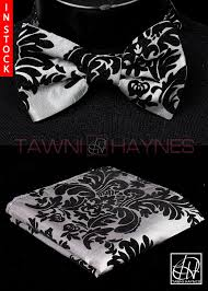 Damask Tie Silver W Black Damask Taffeta Bow Tie Pocket Square