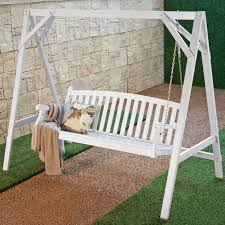 Coral Coast Pleasant Bay All-Weather Curved Back Acacia Wood Porch Swing -  Painted White | Hayneedle