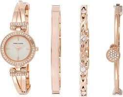 Amazon.com: Anne Klein Women's Crystal Accented Bangle Watch and Bracelet  Set, AK/2238RGST: Anne Klein: Watches