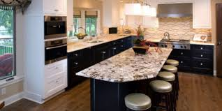 a guide to mixing granite colors as two tone kitchen