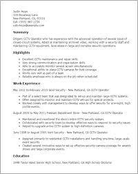 1 Cctv Operator Resume Templates Try Them Now Myperfectresume