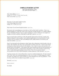 Letter To Intent Sample Example Of Letter Intent For Teachers Top