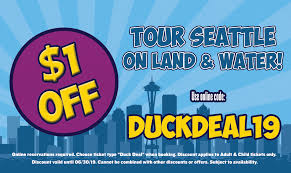 so we ve got a d e a l for you to help you explore seattle use the below for 1 off your tour when you book you re one lucky duck