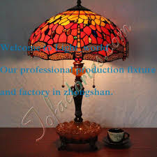 european style old castle dragonfly bead tiffany table lamp living room bedroom bedside desk lamp red