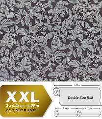 Bloemen Wallpaper Xxl Vlies Behang Edem 923 39 Ontwerp Met Een Elegante Bloemen Patroon Metallic Effect Grijs Zwart Grijs Zilver Platina 1065 M2