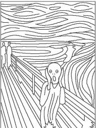 the scream coloring sheet.  Scream Art Color Sheet Munch On The Scream Coloring Sheet Pinterest