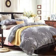 100 egyptian cotton white leaf print 4pcs bedding sets1 grey duvet cover 1 king size duvet