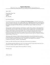 Cover Letter Example Of Cover Letter For Customer Service Good