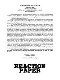 the last journey of ninoy reaction paper