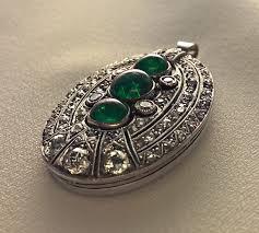 antique emerald diamond pendant