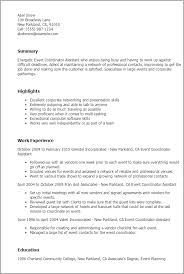 Resume Templates: Event Coordinator Assistant