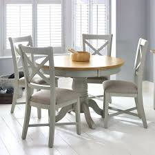 4 chair dining table painted light grey round extending dining table 4 chairs seats 4 6