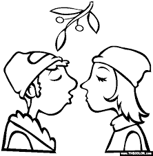 Small Picture Kissing under the Mistletoe Christmas Coloring
