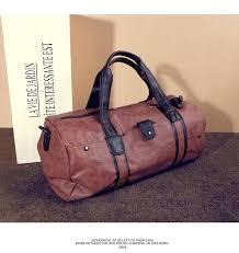 mens leather travel duffel brand men bag vintage large capacity gym shoulder strap outdoor duffle