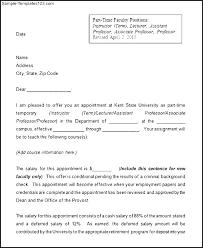 Sample Employment Offer Letter Template Part Time Faculty Job Offer Letter Template Employment Sample