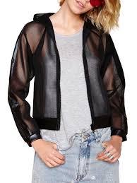 pu leather mesh spliced hooded jacket black 2xl