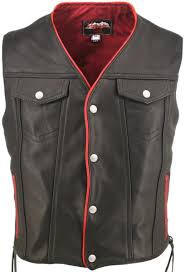 com men s black leather motorcycle vest with red trim pockets chest 40 length long tall automotive