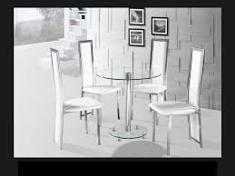 round clear glass chrome dining table and 4 white chairs set