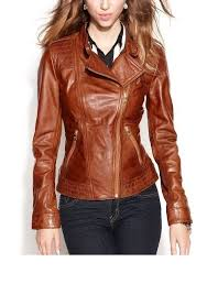 arrow women brown leather jacket fit k7654